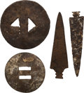 Military & Patriotic:Indian Wars, Two Iron Arrow Points and Two Metal Slides, Artifacts of Little Bighorn.... (Total: 4 Items)