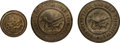 Military & Patriotic:Indian Wars, Three Rare Brass Indian Reservation Buttons Found at Little Bighorn....