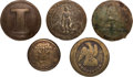 Military & Patriotic:Indian Wars, Four Confederate and One New York Uniform Buttons Excavated fromthe Site of the Sioux Village at Little Bighorn....