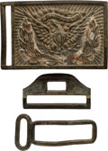 Military & Patriotic:Indian Wars, Brass Buckle and Keeper from a Trooper's Belt.... (Total: 3 )