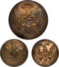 Military & Patriotic:Indian Wars, Three Brass Cavalry Buttons Found on the Little BighornBattlefield....