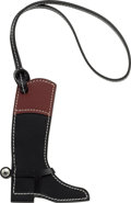 """Luxury Accessories:Accessories, Hermes Black Chamonix & Rouge H Swift Leather Paddock Botte Charm with Palladium Hardware. Condition: 1 . 3.5"""" Width x 4"""" He..."""