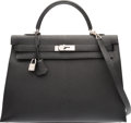 Luxury Accessories:Bags, Hermes 35cm Black Chevre de Coromandel Leather Sellier Kelly Bag with Palladium Hardware. K Square, 2007. Condition: 2. 14...