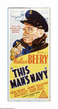 "Movie Posters:Drama, This Man's Navy (MGM, 1945). Australian Daybill (13"" X 30"").Offered here is a vintage, theater-used poster for this adventu..."