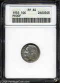 "Proof Roosevelt Dimes: , 1950 10C PR 64 ANACS. The current Coin Dealer Newsletter(Greysheet) wholesale ""bid"" price is $32.00...."