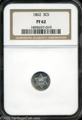 1862 3CS PR62 NGC. Lovely Civil War era proof with appealing surface character, especially on the obverse, and just some...
