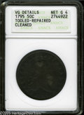 Early Half Dollars: , 1795 50C 2 Leaves--Tooled, Repaired, Cleaned--ANACS. VG Details,Net Good 4. O-104, R.4. Some smoothing is noticed in sever...