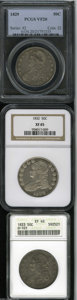 Bust Half Dollars: , 1829 50C VF20 PCGS, O-105, R.1, light to medium gray color and wellcentered; 1832 Small Letters XF45 NGC, O-103, R.1, ... (3 Coins)