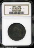 Bust Half Dollars: , 1836 50C 50 Over 00 XF45 NGC. O-116, R.2. The left curve of the 0underdigit is faint but discernible. 18 in the date is wi...
