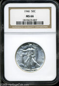 Walking Liberty Half Dollars: , 1946 50C MS66 NGC. A boldly struck and virtually brilliant premiumGem that displays dazzling cartwheel luster. Difficult t...