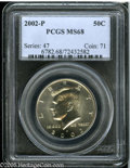 Kennedy Half Dollars: , 2002-P 50C MS68 PCGS. A moderately prooflike, needle-sharp, andimmaculate piece that displays light gold toning....