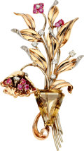 Estate Jewelry:Brooches - Pins, Retro Citrine, Diamond, Ruby, Gold Brooch. ...