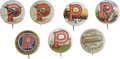 "Advertising:Pocket Mirrors & Pinbacks, Collection of Seven Peters Ammunition Pinbacks, each 1"" diameterwith Bastian Bros., Rochester, New York back papers, ca. ea..."
