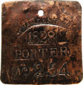 Antiques:Black Americana, 1828 Charleston PORTER Slave Hire Badge. Number 254. A nearly flat square-shaped tag (as they were in even-numbered years du...