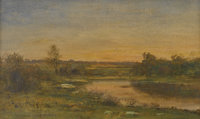 HARVEY YOUNG (American, 1840-1901) Landscape Oil on canvas Signed to lower right in black 12in. 20in