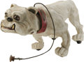 """Antiques:Toys, Bulldog Mascot Papier-mâché Pull Toy.. A fierce white bulldog measuring 26"""" long and 13.5"""" high, mounted on wooden w..."""