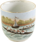 Miscellaneous:Ephemera, Circa 1840s Handpainted Rowing Porcelain Cup The storied traditionof crew is captured in fine handpainted imagery on this w...
