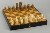 CHINESE CARVED IVORY CHESS SET Circa 1900  Winged dogs of Fo Pawns, elephant Rooks, winged horses Knights, turtle Bishop...