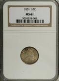 Bust Dimes: , 1831 10C MS61 NGC. NGC Census: (10/151). PCGS Population (5/123).Mintage: 771,350. Numismedia Wsl. Price: $635. (#4520)...