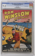 Golden Age (1938-1955):War, Don Winslow of the Navy #16 Crowley Copy/File Copy (Fawcett, 1944)CGC NM- 9.2 Off-white pages....