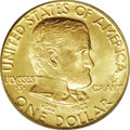 Commemorative Gold: , 1922 G$1 Grant with Star MS66 PCGS. This is a highly attractiveGrant gold dollar commemorative With Star variety. Even lem...