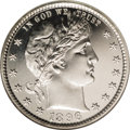 Proof Barber Quarters: , 1896 25C PR66 Cameo NGC. Fully brilliant with chalky-white crisply struck design features that seem afloat in deep pools of...