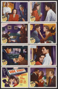 "Movie Posters:Film Noir, Side Street (MGM, 1950). Lobby Card Set of 8 (11"" X 14""). Anthony Mann directs this film-noir drama about a man who is d... (Total: 8 Items)"