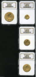 Modern Bullion Coins: , 2001 American Gold Eagle Set MS69 NGC. The set includes: $5 G$5Tenth-Ounce, immaculate fields; $10 Quarter-Ounce, ... (4 Coins)