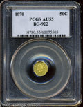 California Fractional Gold: , 1870 50C Liberty Octagonal 50 Cents, BG-922, R.3, AU55 PCGS. A paleolive-gold example, a bit subdued but unmarked and shar...