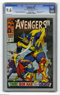The Avengers #51 (Marvel, 1968) CGC NM+ 9.6 Off-white pages. John Buscema cover. Buscema and George Tuska art. Overstree...