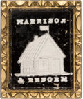 Political:Ribbons & Badges, William Henry Harrison: Vertically-Formatted Sulphide Brooch....