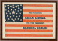 Political:Textile Display (pre-1896), Lincoln & Hamlin: Sought-after 1860 Campaign Flag Banner....