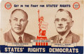 Political:Posters & Broadsides (1896-present), Thurmond & Wright: Rare, Large Dixiecrat States' Rights Jugate Poster....