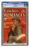 """Golden Age (1938-1955):Romance, Cowboy Romances #2 (Marvel, 1949) CGC VF/NM 9.0 Off-white pages.William Holden photo cover, from """"Streets of Laredo."""" Overs..."""