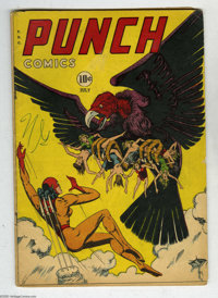 Punch Comics #20 (Chesler, 1947) Condition: VG. Unique cover features Rocket Girl confronting a giant Vulture with women...