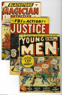 Marvel/Timely Golden Age Crime Group (Marvel/Timely, 1947-50). Five-issue lot includes Young Men #4 (52 pages; VG); Ju...