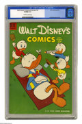 Golden Age (1938-1955):Cartoon Character, Walt Disney's Comics and Stories #167 (Dell, 1954) CGC VF/NM 9.0Off-white to white pages. Carl Barks cover and art. This is...