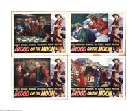 "Blood on the Moon (RKO, 1948). Lobby Cards (4) (11"" X 14""). Robert Mitchum stars in this Western directed by R..."