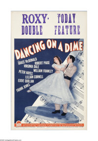 "Dancing on a Dime (Paramount, 1940). Window Card (14"" X 22""). Offered here is a vintage, theater-used window c..."