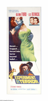 "Experiment in Terror (Columbia, 1962). Insert (14"" X 36""). Offered here is a vintage, theater-used poster for..."