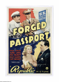"""Forged Passport (Republic, 1939). One Sheet (27"""" X 41""""). Offered here is a vintage, theater-used poster for th..."""