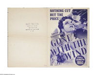 "Gone With the Wind (MGM, 1939). Herald (15.5"" X 22"" Unfolded). David Selznick released this classic epic to a..."