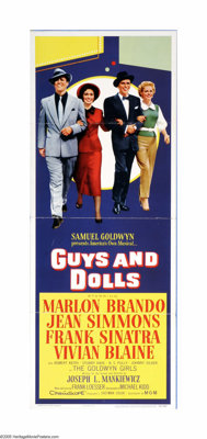 "Guys and Dolls (MGM, 1955). Insert (14"" X 36""). Offered here is a vintage, theater-used poster for this musica..."