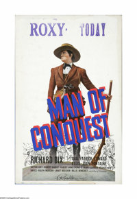 "Man of Conquest (Republic, 1939). Window Card (14"" X 22""). Offered here is a vintage, theater-used window card..."