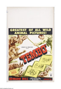 """Tembo (RKO, 1952). Window Card (14"""" X 22""""). Offered here is a vintage, theater-used poster for this adventure..."""