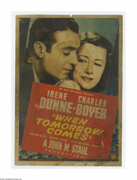 """When Tomorrow Comes (Universal, 1939). Midget Window Card (8"""" X 11""""). Offered here is a vintage window card fo..."""