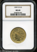 """Indian Eagles: , 1909-D $10 MS60 NGC. The current Coin Dealer Newsletter (Greysheet)wholesale """"bid"""" price is $420.00...."""