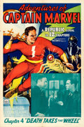 "Movie Posters:Serial, Adventures of Captain Marvel (Republic, 1941). One Sheet (27"" X 41"") Chapter 4 -- ""Death Takes the Wheel."". ..."