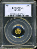 California Fractional Gold: , Undated 25C Liberty Round 25 Cents, BG-223, Low R.4, MS63 PCGS. ...