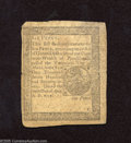 Colonial Notes:Pennsylvania, Pennsylvania April 10, 1777 6d Fine-Very Fine. A couple of minor edge nicks exist on this otherwise broadly margined piece o...
